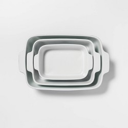 3pc Stoneware Bakeware Set Blue - Threshold™