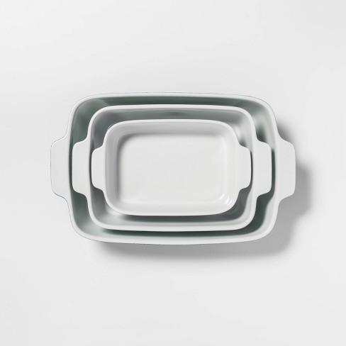 3pc Stoneware Bakeware Set Blue - Threshold™ - image 1 of 2