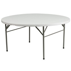 Riverstone Furniture Collection Plastic Folding Table Granite White