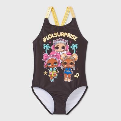 Girls' L.O.L. Surprise! One Piece Swimsuit - Black
