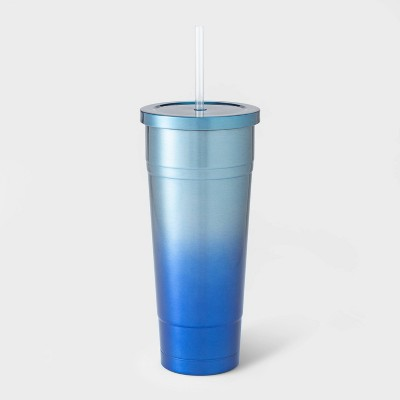 25oz Double Wall Stainless Steel Vacuum Tumbler with Straw Blue Ombre - Room Essentials™