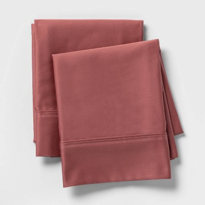 Standard 400 Thread Count Solid Performance Pillowcase Set Rose - Threshold™