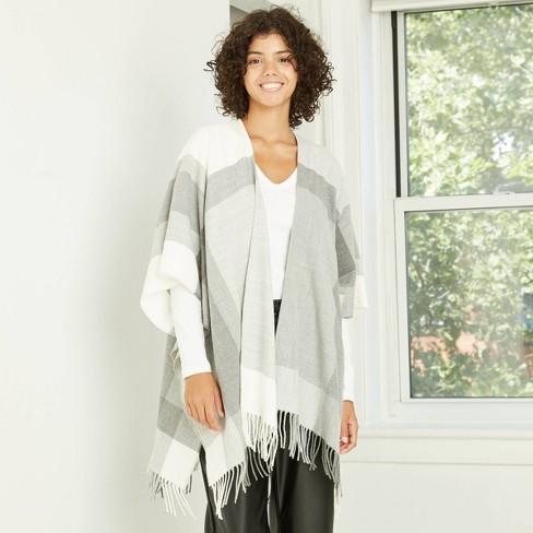 Women's Plaid Ruana Kimono Jacket - A New Day™ Gray  - image 1 of 2