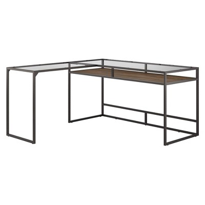 60W Anthropology Glass Top L Shaped Desk with Shelf Rustic Brown Embossed - Bush Furniture
