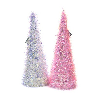 "Easter 16.0"" Iridescent Cone Trees Tinsel Party  -  Decorative Figurines"