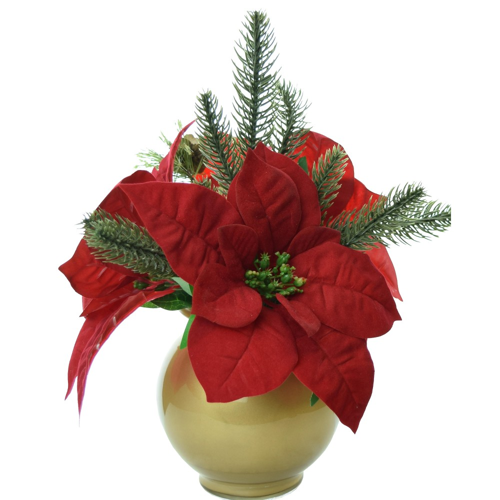 Artificial Poinsettia Arrangement with Gold Glass Bowl Vase Red 9 - Lcg Florals