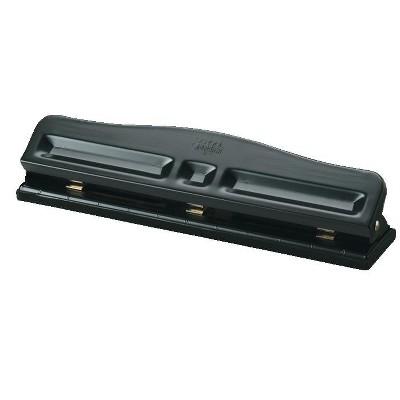 School Smart Paper Punch, Adjustable 2 or 3-Hole, 12 Sheet Capacity, Black