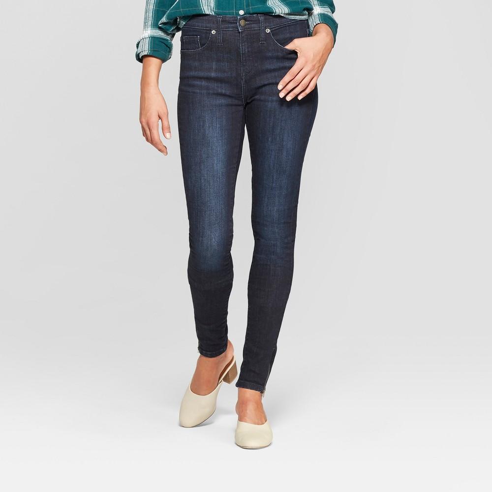 Women's High-Rise Zippered Split Hem Skinny Jeans - Universal Thread Dark Wash 8 Short, Blue