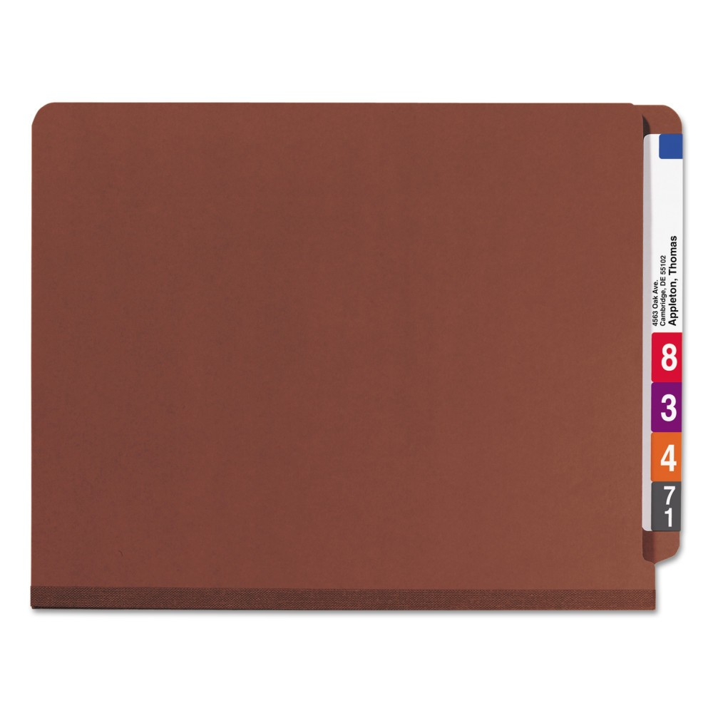 Smead Pressboard End Tab Classification Folders, Letter, Six-Section, Red, 10/Box, Brown