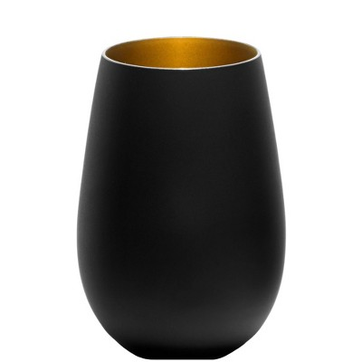 16.5oz 6pk Glass Olympia Tumbler Drinkware Set Black/Gold - Stolzle Lausitz