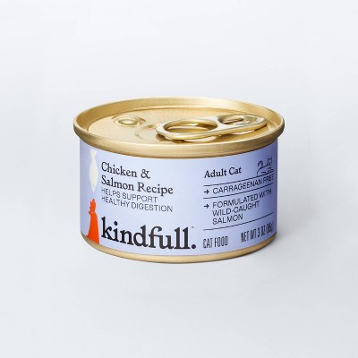 Chicken and Salmon Recipe for Healthy Digestion Wet Cat Food - 3oz - Kindfull™