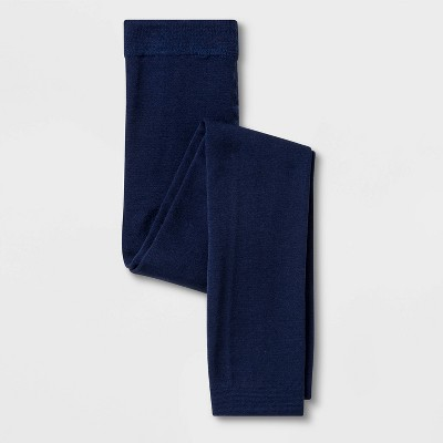 Girls' Fleece Lined Footless Tights - Cat & Jack™ Navy S