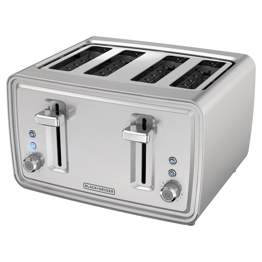 Image of BLACK+DECKER 4 Slice Toaster - Stainless Steel TR4900SSD, Silver