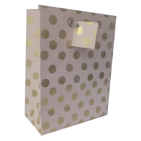 Light Pink Polkadots Cotton Recycled Handmade Paper Gift Bag Spritz