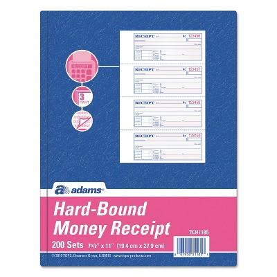 Adams TOPS 3-Part Hardbound Receipt Book 7 x 2 3/4 Carbonless 200 Sets/Book TCH1185