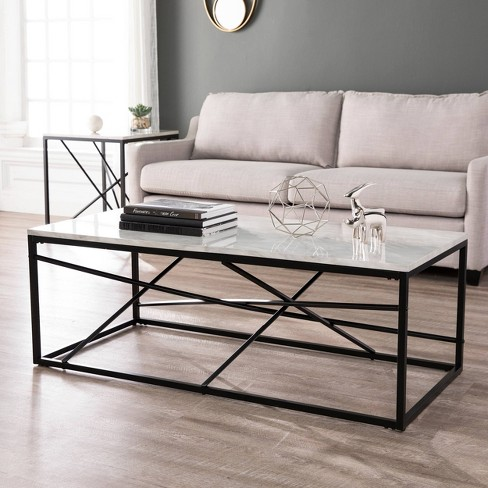 Arendale Faux Marble Coffee Table Matte Black Aiden Lane Target