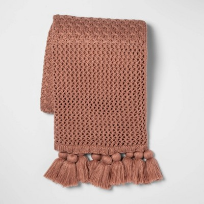 Chunky Knit with Tassels Throw Blanket Pink - Opalhouse™