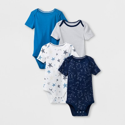 Baby Boys' 4pk Short Sleeve Bodysuit - Cloud Island™ Blue 3-6M