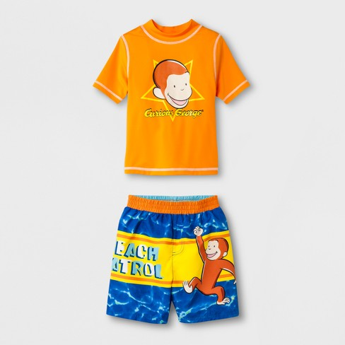 Baby Boys' Curious George Rash Guard Set - Orange/Blue - image 1 of 2