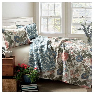Sydney 3 Piece Quilt Set (Full/Queen)Green/Blue - Lush Décor
