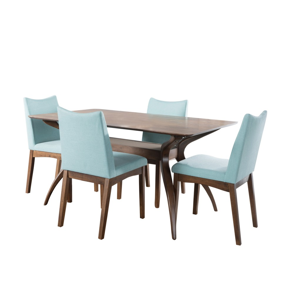 Dimitri Dining Set - Walnut/Mint (Green) - Christopher Knight Home