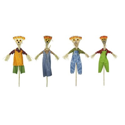 """Northlight Club Pack of 12 Green Broom Head Halloween Decor Scarecrows 16"""""""