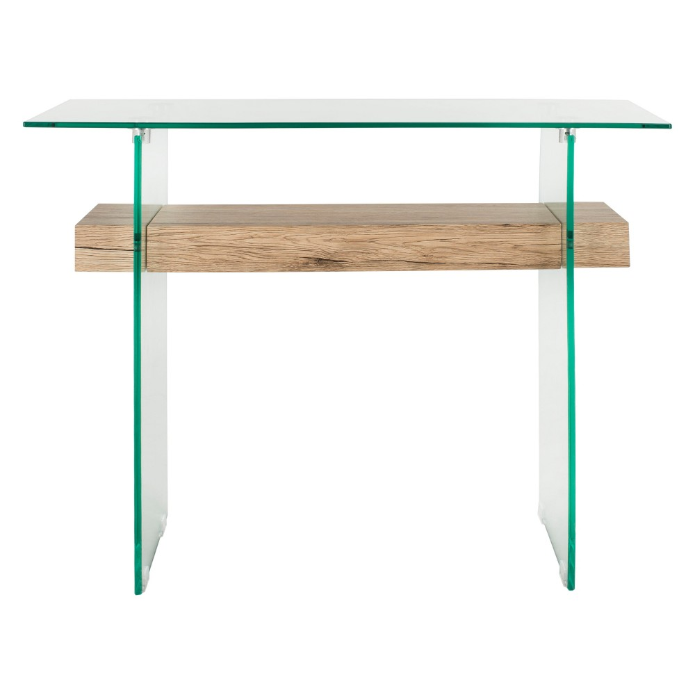 Kayley Console Table Clear/Natural - Safavieh