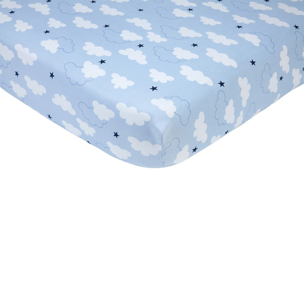 Carter's Take Flight Airplane 100% Cotton Fitted Crib Sheet, Blue