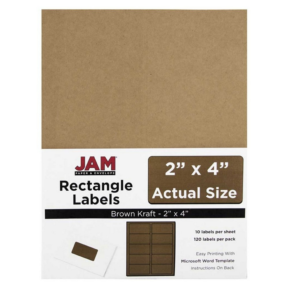 """Image of """"JAM Paper Mailing Labels 2"""""""" X 4"""""""" 120ct - Brown"""""""