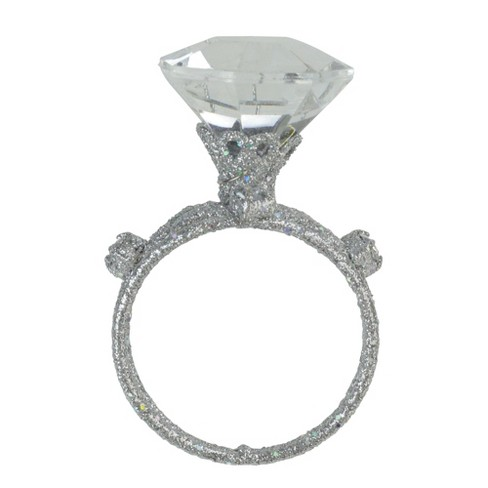 """Allstate 3"""" Glittered Faux-Diamond Three-Band Wedding Ring Christmas Ornament - Silver - image 1 of 3"""