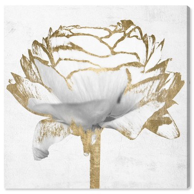 "30"" x 30"" Peony Flower Gold and White Floral and Botanical Unframed Canvas Wall Art in White - Oliver Gal"