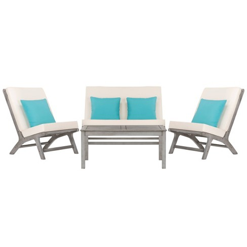Chaston 4pc Outdoor Living Set With Accent Pillows - Gray Wash/White/Light Blue - Safavieh - image 1 of 4
