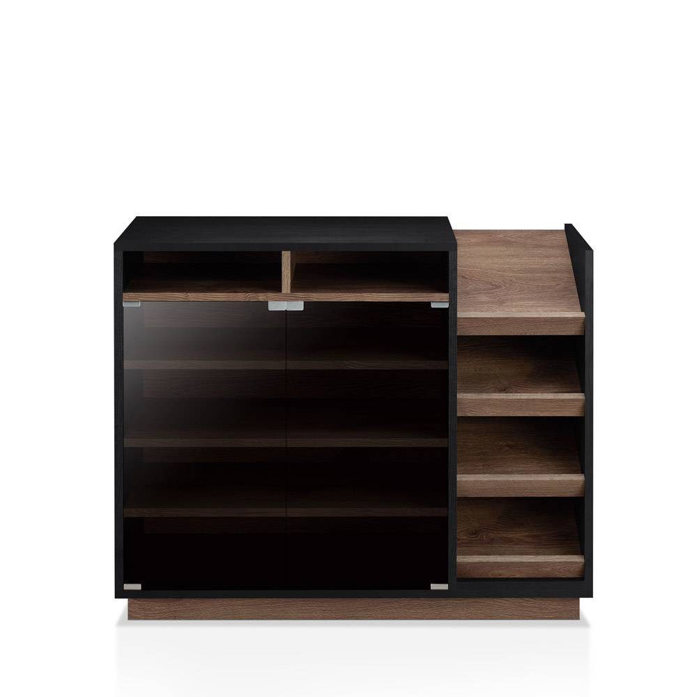 Image of Iohomes Glaspie Transitional Shoe Cabinet Black and Distress Walnut - Homes: Inside + Out