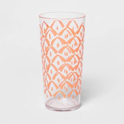 22oz Plastic Pineapple Print Tumbler Orange - Sun Squad™