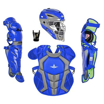 All-Star Sports S7 Axis Ages 9 to 12 Protective Baseball Catchers Gear Set with Mask Helmet, Chest Protector, and Leg Guards, Royal