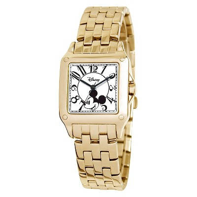 Women's Disney Mickey Mouse Perfect Square Gold Watch - Gold