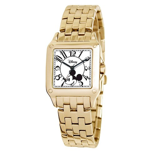 Women's Disney® Mickey Mouse Perfect Square Gold Watch - Gold - image 1 of 2