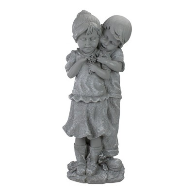 Northlight 19 5 Gray Boy Hugging Girl Outdoor Garden Statue Target