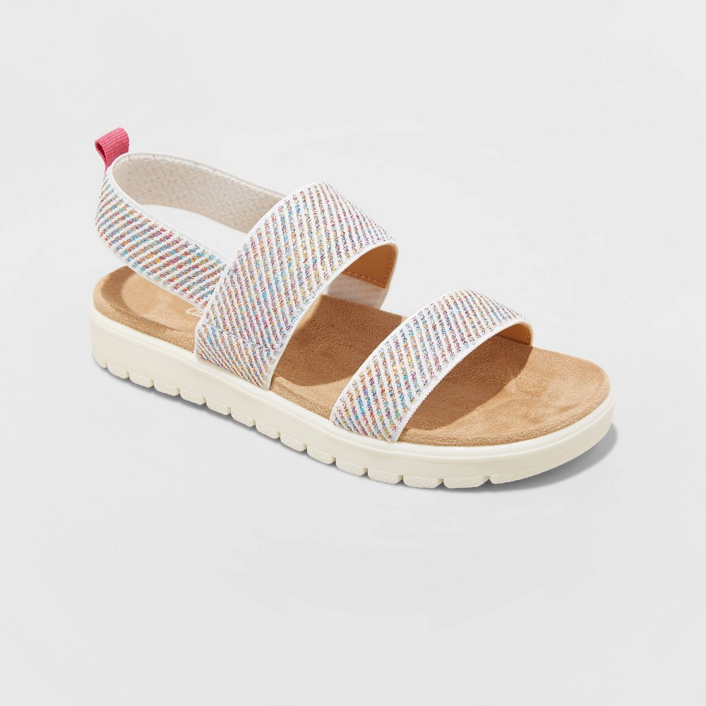 Girls 39 Sloane Pull On Elastic Strap Footbed Sandals Cat 38 Jack 8482 Pink 1