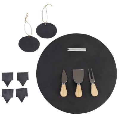 12pc Slate Cheese Board Set Black - Home Basics