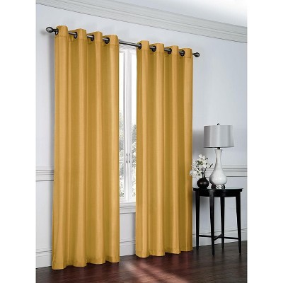 GoodGram Artisan Faux Silk Semi Sheer Grommet Curtain Panel