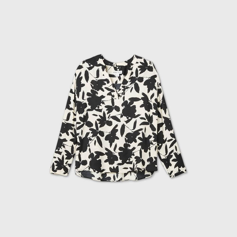 Coupons Women's Plus Size Floral Print Long Sleeve Essential Popover Blouse - Ava & Viv™