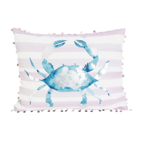 "Dcor Therapy 14""x18"" Tulum Crab Throw Pillow White/Blue - image 1 of 4"