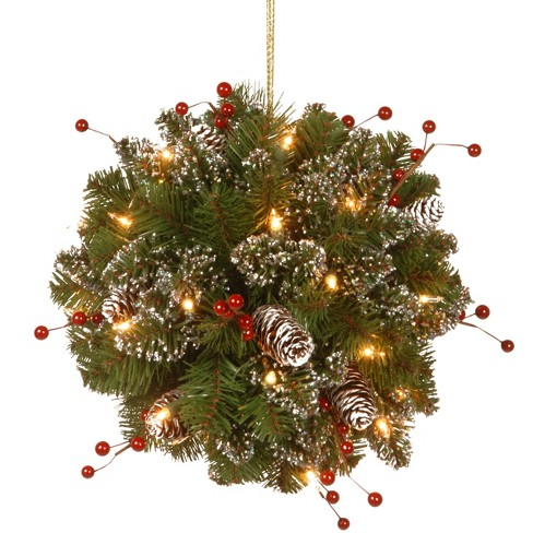 "12"" Glittery Mountain Spruce Kissing Ball with Battery Operated Warm White LED Lights - National Tree Company - image 1 of 1"