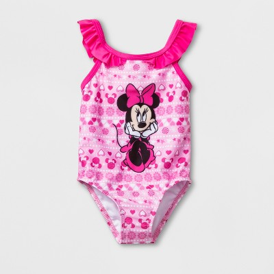 Baby Girls' Mickey Mouse & Friends Minnie Mouse One Piece Swimsuit - Pink 3-6M