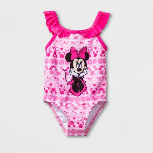 Baby Girls' Mickey Mouse & Friends Minnie Mouse One Piece Swimsuit - Pink - image 1 of 2