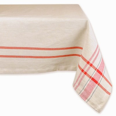 "Design Imports 84""X60"" French Stripe Tablecloth Red"