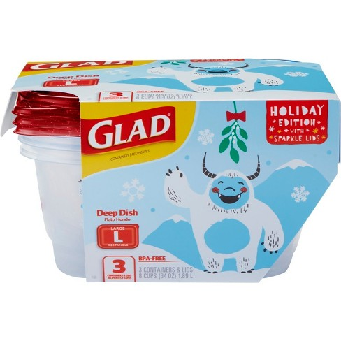 Glad Holiday Edition Deep Dish Food Storage Containers - 3ct - image 1 of 8