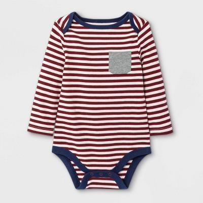 Baby Boys' Striped Long Sleeve Bodysuit with Pocket - Cat & Jack™ Maroon Newborn