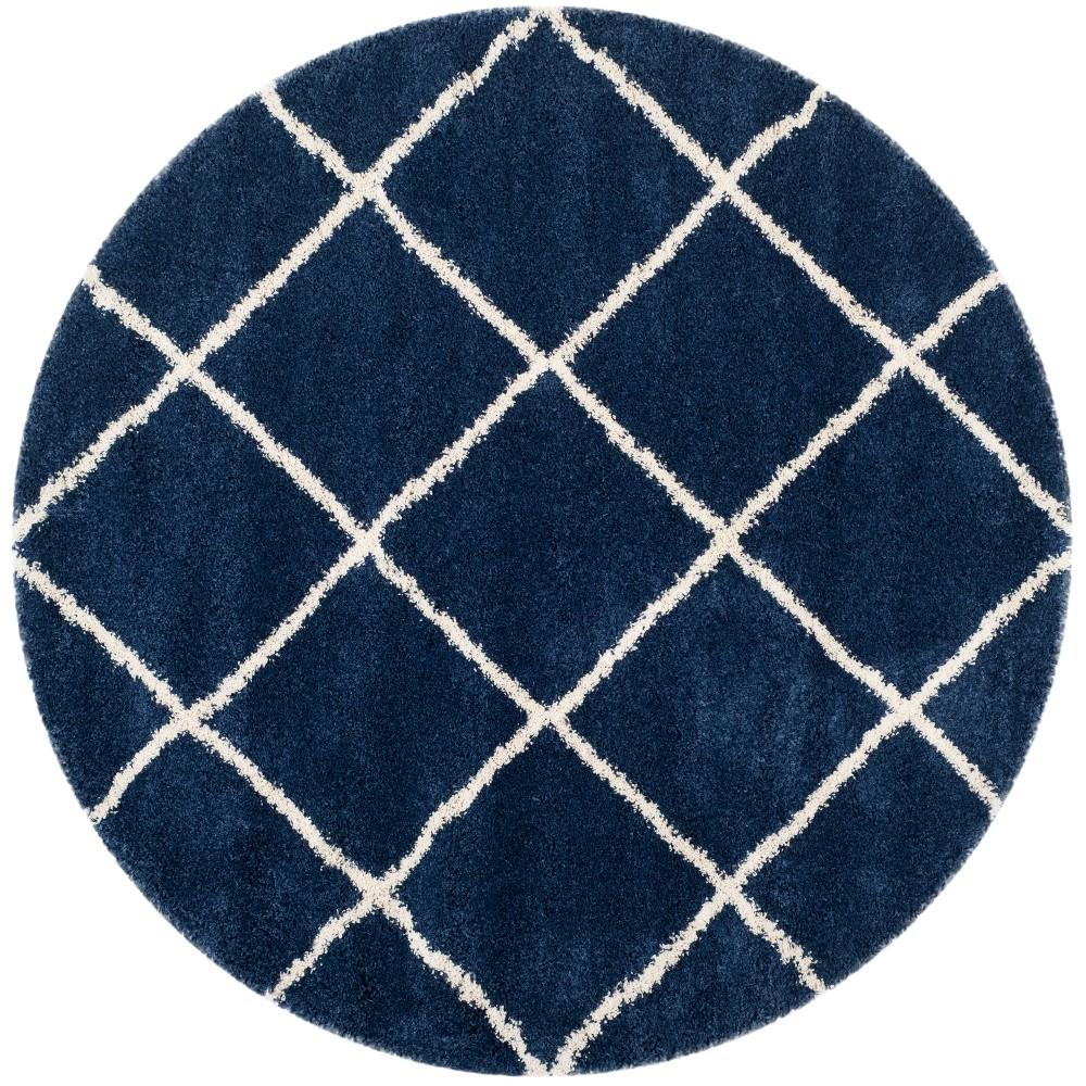 9' Geometric Loomed Round Area Rug Navy/Ivory (Blue/Ivory) - Safavieh